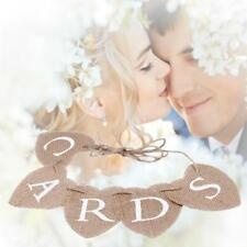 Jute Hessian Burlap Hearts Rustic Vintage Wedding CARDS Bunting Banner Sign LH