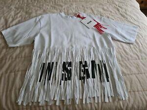 MSGM Oversized  White Fringed Cotton T shirt Crew Neck Size S BNWT