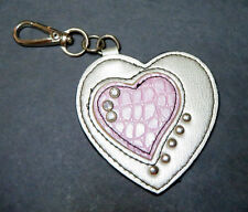 EUC KATHY VAN ZEELAND LEATHER KEY RING SILVER/PINK PURSE HANG TAG BAG ACCESSORY
