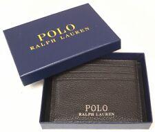 NEW $80 Polo Ralph Lauren Wallet Slim Card Case Mens Dark Brown Leather NWT