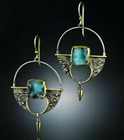 Turquoise Vintage 925 Silver Ear Hook Stud Dangle Drop Earrings Women Jewelry