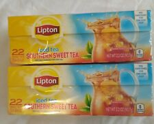 2 Packs Lipton Southern Sweet Iced Tea Bags 22 Count Family Size Equal to 11 Gal
