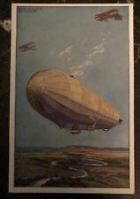 Original Zeppelin In Flight Picture Postcard Mint The German Air Fleets