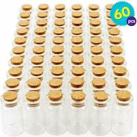 60 x Mini Glass Bottles Jars Cork Stopper Vial Wedding Party Favour Decoration