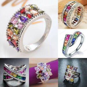 925 Silver Rings Gorgeous Cubic Zirconia Women Wedding Ring Gift Jewelry Sz 6-10