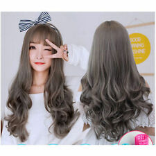 Air Bang Daily Natural Long Curly Lady Hair New Synthetic Full Flaxen Grey Wig