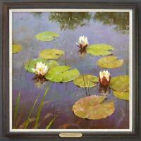 "Hand painted Original Oil Painting art landscape Water lilies on canvas 30""x30"""