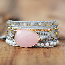 Natural Rose Quartz | Howlite | Labradorite Geode Beaded Pink Wrap Bracelet