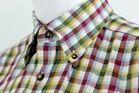CHARLES TYRWHITT Mens Large Multicolor Brushed Twill Plaid Button Down Shirt