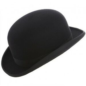 Black Bowler Hat Wool Felt - Christys' Hats Fashion Black Lining Size: S,M,L,XL