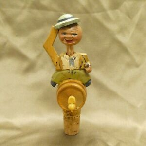 Vintage Hand Carved Wood Wooden Mechanical Wine Bottle Stopper Man Smoking Pipe