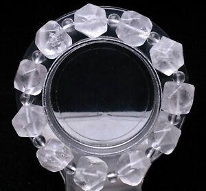 44.g Natural Skeletal Clear Quartz Crystal Tibetan Herkimer Point Drill Bracelet