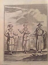 TARTARI KOKO NOR TIBET uomini costume prete acquaforte 1746 Thomas Astley