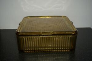 Vintage Federal Glass Amber/Yellow Square Refrigerator Leftover Dish with Lid