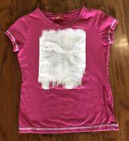 Girls Youth PUMA short sleeve TEE SHIRT top pink sparkles Girls  Size 8-10