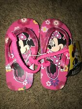 Nwt - Disney Minnie Mouse Toddler M 7/8 Flip Flops Back Straps Pink Sandals