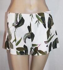 Luvalot Brand White Leaf Print High Waisted Shorts Size 8 BNWT #TA15