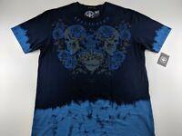 NEW AFFLICTION Black Label Lifeblood 3XL T Shirt Remi Blue Graphic Tie Dye Fade