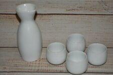 Cordon Bleu 5 Piece White Sake Set Cups And Pour Jar Dishwasher Oven Microwave