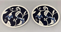 Fitz and Floyd Bristol Indigo Floral White Blue Salad Plate Set 2 Lot Dinnerware