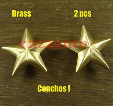 2pcs Brass Leathercraft star rivet stud screw back Conchos Fob Wallet Z344