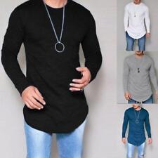 Men Oversize Street Long Sleeve T-shirt Extend Hip Hop Club Looose Blouse Shirts