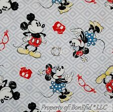 BonEful Fabric Cotton Quilt White Red Disney Minnie Mickey Mouse Baby Sale SCRAP