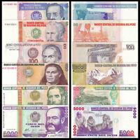 PERU SET 6 Pcs 10, 50, 100, 500, 1000, 5000 INTIS 1987/1988 UNC