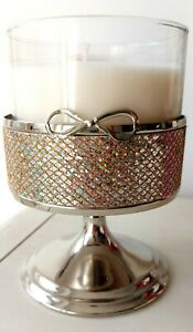 Glittery Bow Pedestal Silver 3 Wick Holder Bath And Body Works *NEW*
