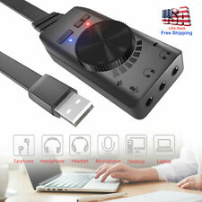 USB Sound Card External Audio Adapter 3.5mm Stereo For Headset Mic Laptop PC NEW