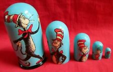 """Cat In The Hat Nesting Doll/5-pieces Hand-Made Set/4.5"""" Tall/Wood/NEW/Russia"""