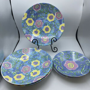 """Gibson 8 Piece Set of Melamine 7.75"""" Bowls 10.75 Plates Flowers Spring Blue Pink"""