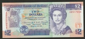 1991 BELIZE 2 DOLLAR NOTE  UNC