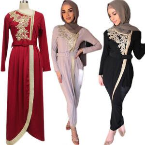 Dubai Abaya Muslim Women Long Sleeve Maxi Dress Party Gown Kaftan Jilbab Islamic