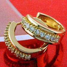 EARRINGS HOOP GENUINE REAL 18K ROSE G/F GOLD LADIES DIAMOND SIMULATED DESIGN