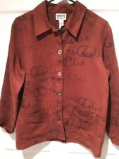 Chico's Design Sz 1- (Small) Shirt Jacket Button Down Brick Red Polyester