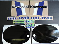 1982 KAWASAKI KX 125 GAS TANK, SWINGARM, REAR PLATE & SIDE PANEL DECAL KIT