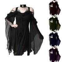 Women Victorian Retro Punk Rock Gothic Prom Dress Lace Steampunk Vintage Dresses