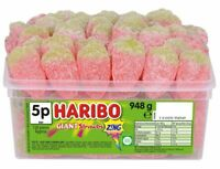 Haribo Giant Strawbs Zing Fizzy Strawberries Sweets Candy Kids Tub Pick 'N Mix