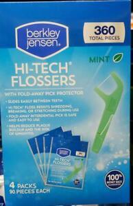 NIB Berkley Jensen Mint HI-TECK FLOSSERS, 4 pk./90 ct. = 360 TOTAL PIECES