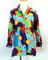 vtg 60s Laura Mae Lifepress women's Beautiful Painted Floral Shirt Top Blouse 38
