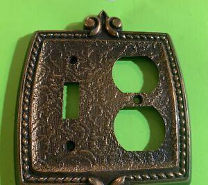 1970's mid century modern light switchplate cover brass bronze antique hardware