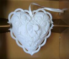 Margaret Furlong Heart ornament White Bisque Porcelain Lace Edge Viola Flower