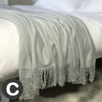 Luxury Mohair Woollen Feel Blanket Throw Light Dove Grey Large Bed Sofa Fringe