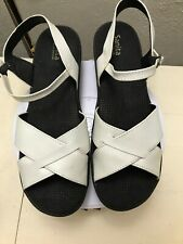 SANITA Danish Off White Leather Canvas Ankle Strap Sandals EUR 42 US 10.5-11