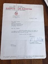 1964 Canadian Football League Montreal Allouettes Original Letterhead CFL #1