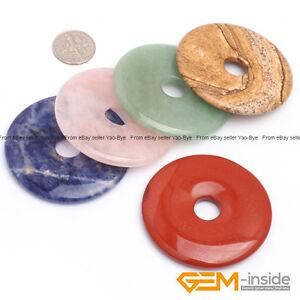 Wholesale Lot Gemstones Round Donut Pendant Beads For Jewelry Making 1Pcs YB