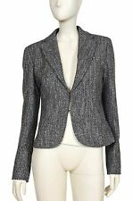 WEEKEND MAX MARA Women's Gray Melange Pleat Blazer Jacket UK 12 US 10