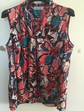 KASPER Pink Floral Print Women's Size 2X Plus Blouse Top Freeshipping NWT