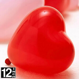 "PACK OF 100 RED HEART SHAPE 12"" LARGE LATEX AIR/HELIUM VALENTINE'S DAY BALLOONS."